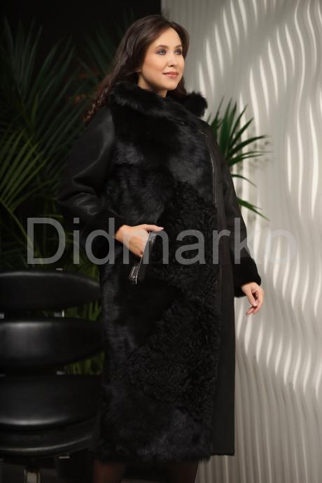 Купить Длинная дубленка с мехом тоскана черного цвета в Москве и Санкт-Петербурге