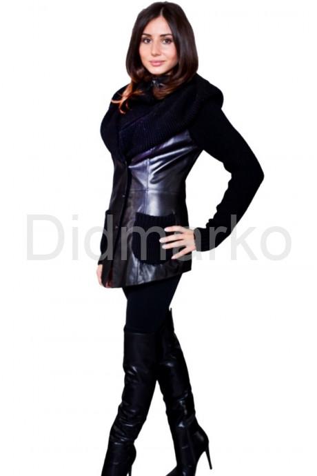 Куртка из кожи, комбинированной с трикотажем