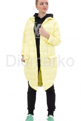 Молодежный облегченный пуховик ярко-желтого цвета