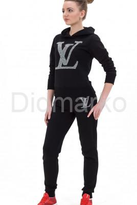 Молодежный спортивный костюм черного цвета с капюшоном