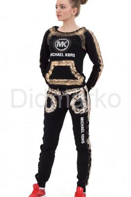 Молодежный стильный спортивный костюм черного цвета с золотым рисунком
