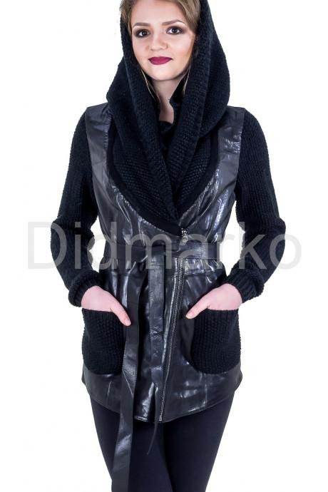 Купить Куртка из кожи, комбинированной с трикотажем в Москве и Санкт-Петербурге