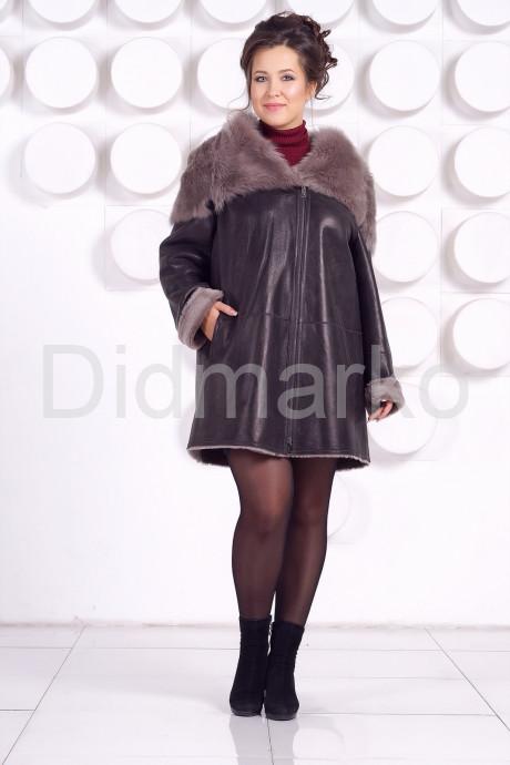Женская дубленка большого размера с капюшоном