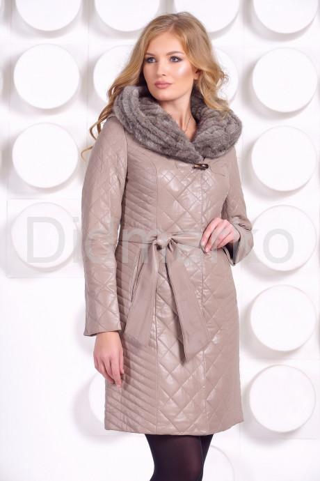 Купить Стеганое кожаное пальто с отделкой вязаной норкой в Москве и Санкт-Петербурге
