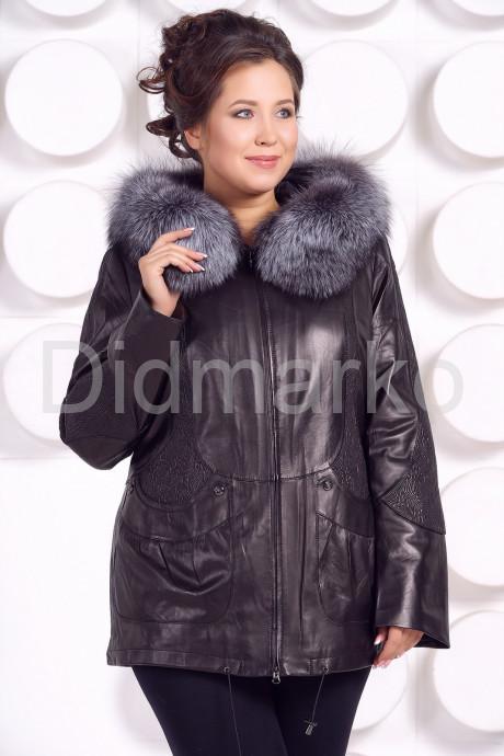 Купить Удлиненная кожаная куртка с мехом чернобурки в Москве и Санкт-Петербурге