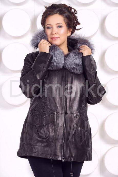 Удлиненная кожаная куртка с мехом чернобурки