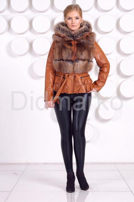 Куртка-жилетка с мехом песца в цвет соболя