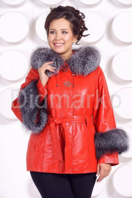 Купить Красивая кожаная куртка с отделкой из меха чернобурки Хит сезона в Москве и Санкт-Петербурге