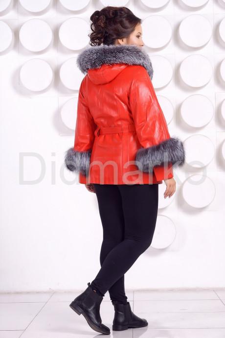 Красивая кожаная куртка с отделкой из меха чернобурки Хит сезона