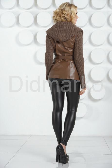 Утепленная кожаная куртка с трикотажем