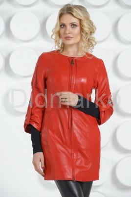 Красный кожаный плащ с коротким рукавом