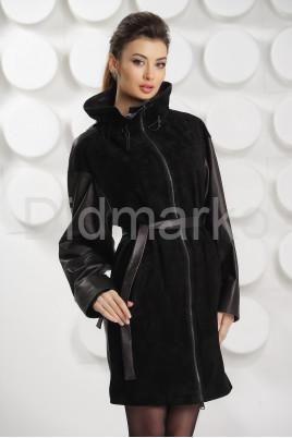 Комбинированный кожаный плащ 2021 черного цвета