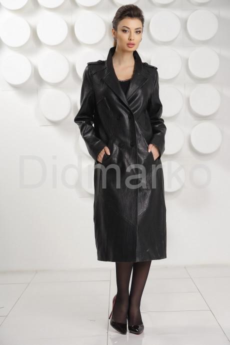 Стильный кожаный плащ черного цвета