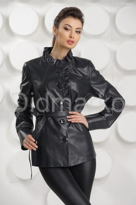 Кожаная куртка с рюшами цвета берлинской лазури