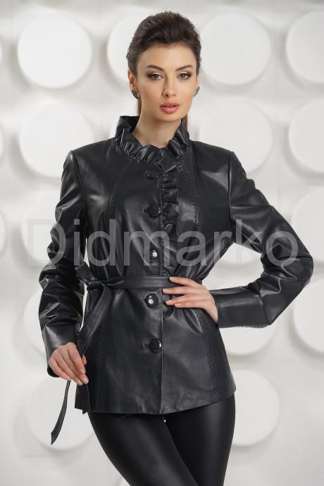 Купить Кожаная куртка с рюшами цвета берлинской лазури в Москве и Санкт-Петербурге
