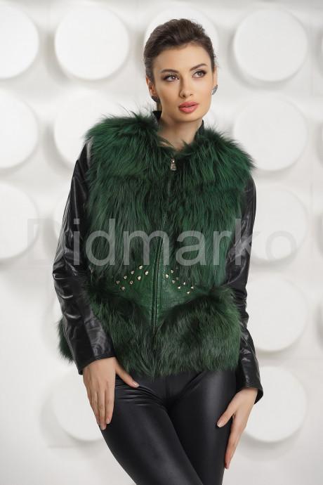 Купить Меховой жилет зеленого цвета в Москве и Санкт-Петербурге