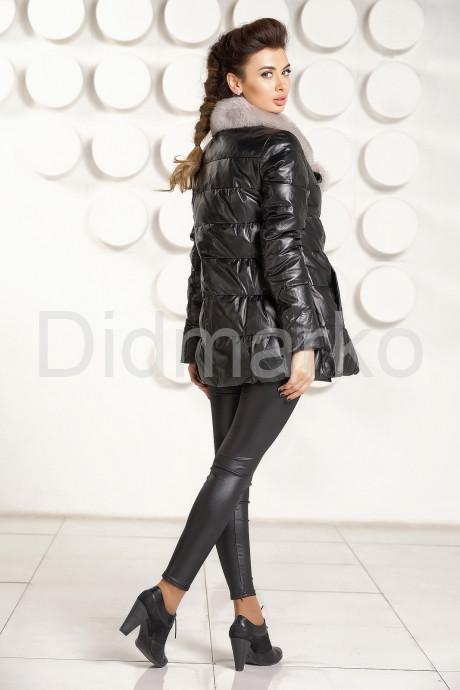 Двубортный кожаный пуховик Зима 2021