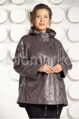 Кожаная куртка больших размеров цвета капучино