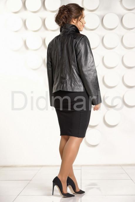 Кожаная косуха больших размеров черного цвета