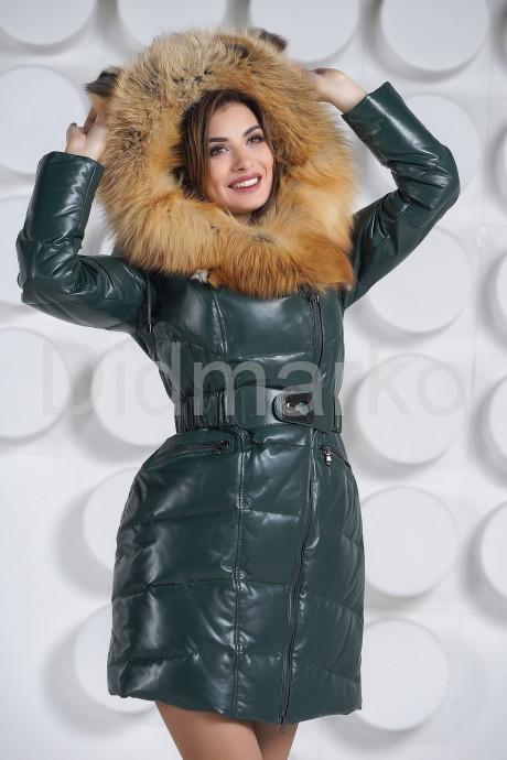 Красивый кожаный пуховик с мехом огненной лисы