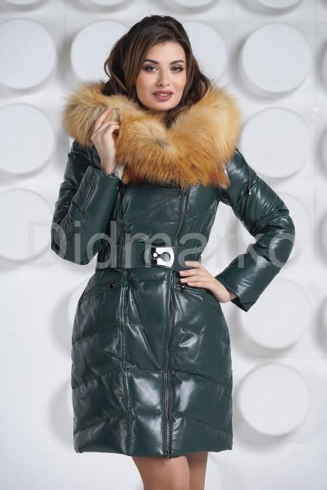 Купить Красивый кожаный пуховик с мехом огненной лисы в Москве и Санкт-Петербурге