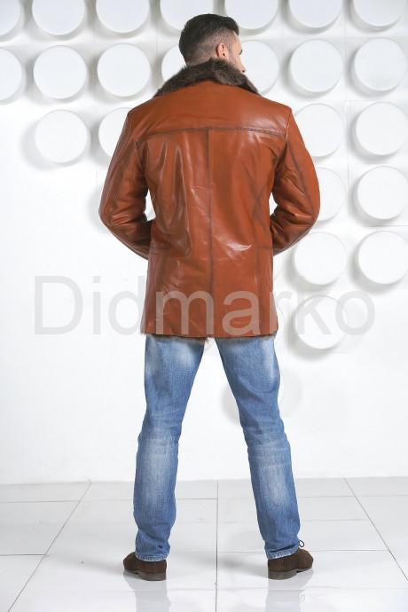 Мужская рыжая дубленка