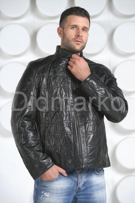 Стеганная кожаная куртка