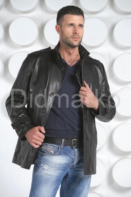 Купить Мужская кожаная куртка на пуговицах в Москве и Санкт-Петербурге