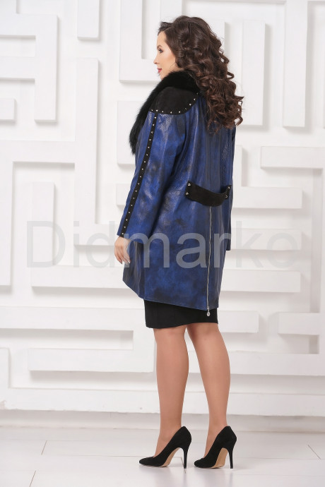 Модное кожаное пальто со съемным мехом