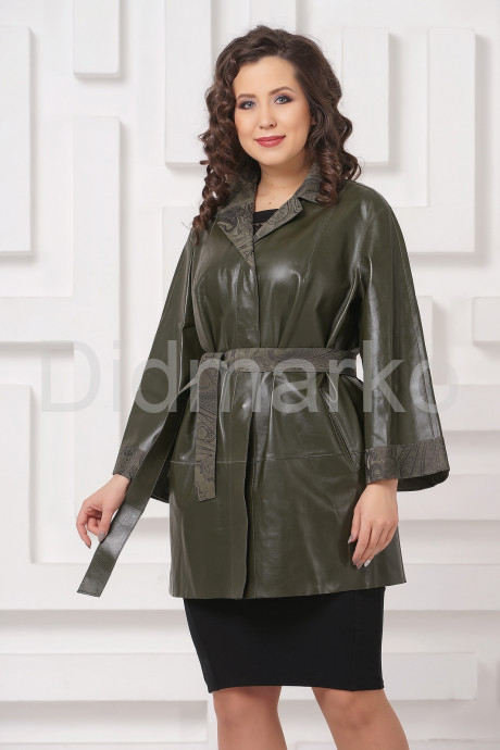 Двусторонний кожаный плащ зеленого цвета