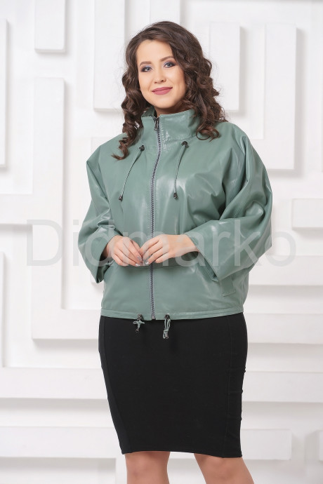 Женская кожаная куртка мятного цвета
