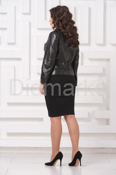 Кожаная женская косуха черного цвета больших размеров
