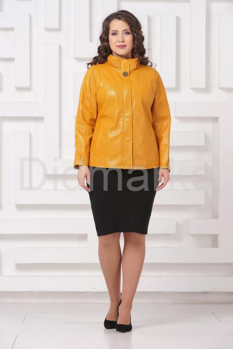 Женская кожаная куртка горчичного цвета