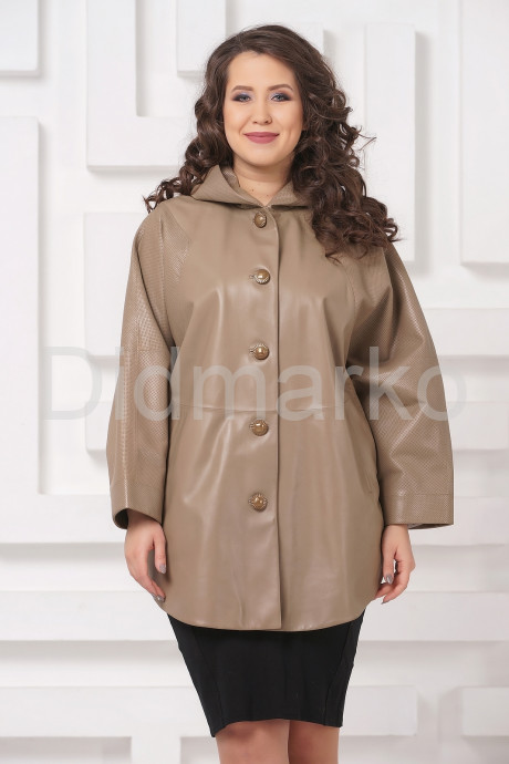 Кожаная куртка больших размеров бежевого цвета