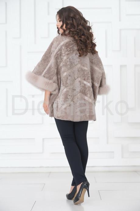 Дубленка - пончо бежевого цвета