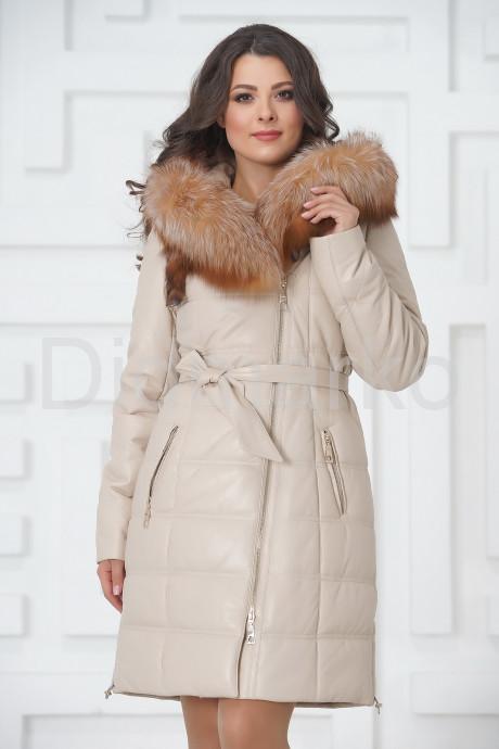 Купить Женский кожаный пуховик бежевого цвета в Москве и Санкт-Петербурге