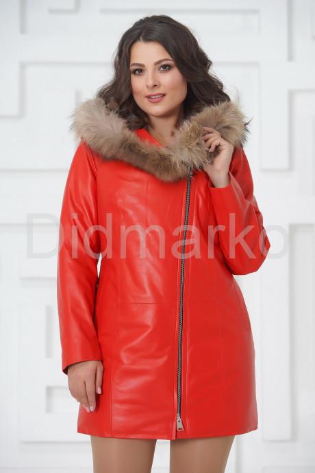 Купить Красная кожаная демисезонная куртка больших размеров в Москве и Санкт-Петербурге