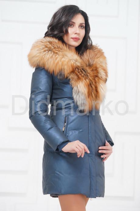 Купить Кожаный пуховик с мехом огненной лисы в Москве и Санкт-Петербурге