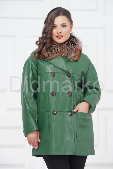 Купить Двубортная кожаная куртка зеленого цвета в Москве и Санкт-Петербурге