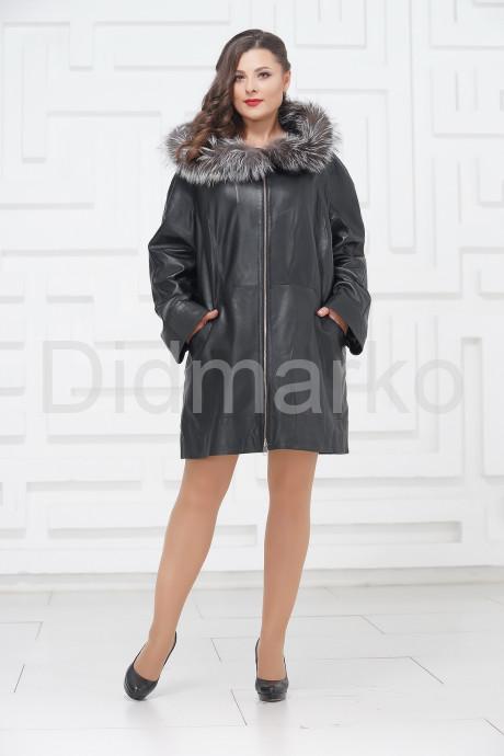 Удлиненная кожаная куртка с мехом чернобурки больших размеров