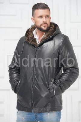 Зимняя кожаная куртка с не стриженным мехом тоскана