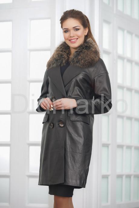 Купить Двубортное кожаное пальто черного цвета в Москве и Санкт-Петербурге