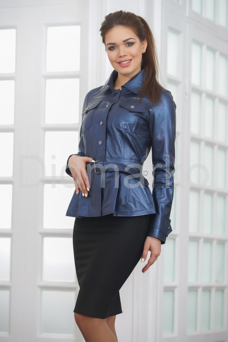 Кожаная женская рубашка с баской