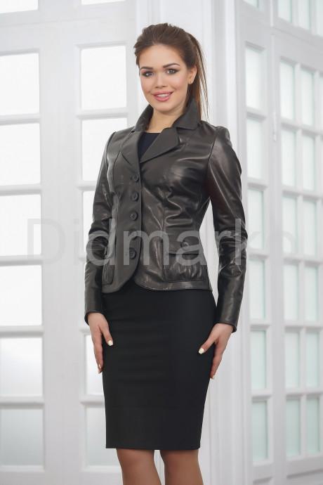 Купить Классическая женская кожаная куртка на пуговицах в Москве и Санкт-Петербурге