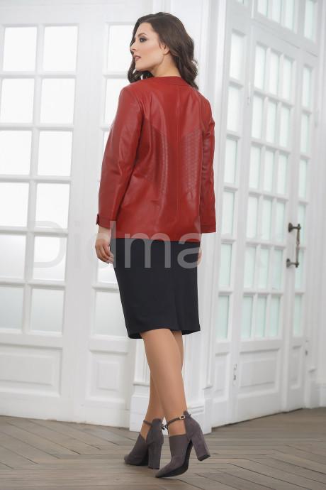 Весенняя кожаная куртка больших размеров терракотового цвета
