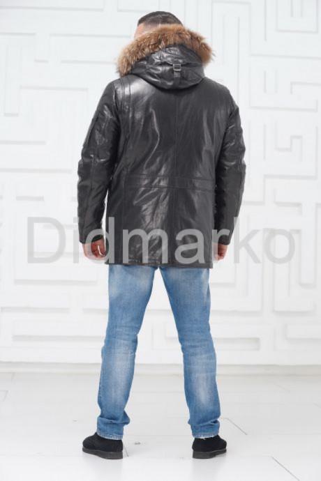 Мужской кожаный пуховик с мехом