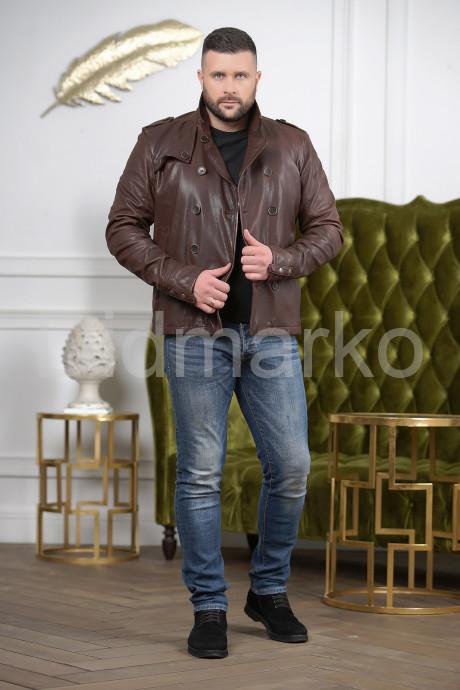 Мужская двубортная кожаная куртка