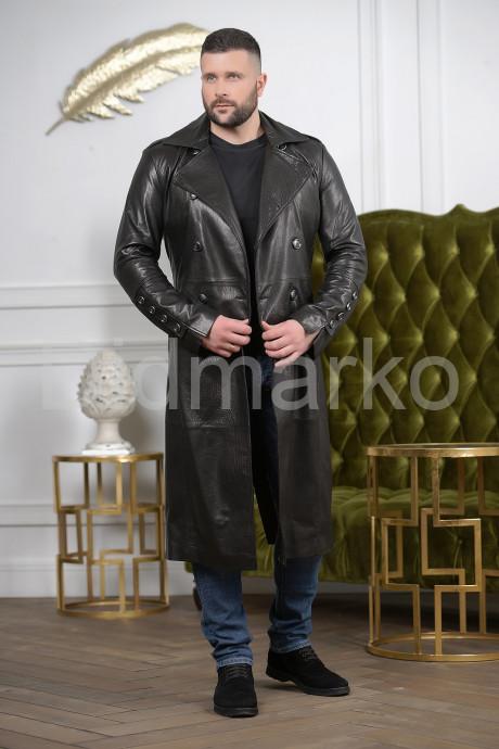 Мужской кожаный плащ осень 2021