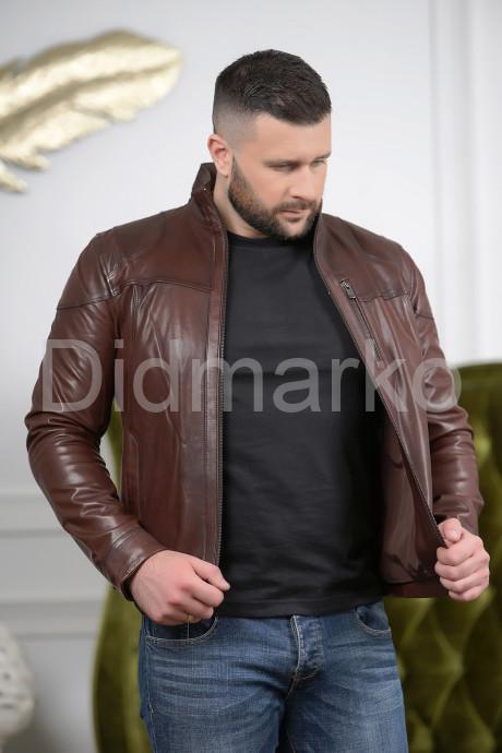 Короткая мужская кожаная куртка Весна-2021