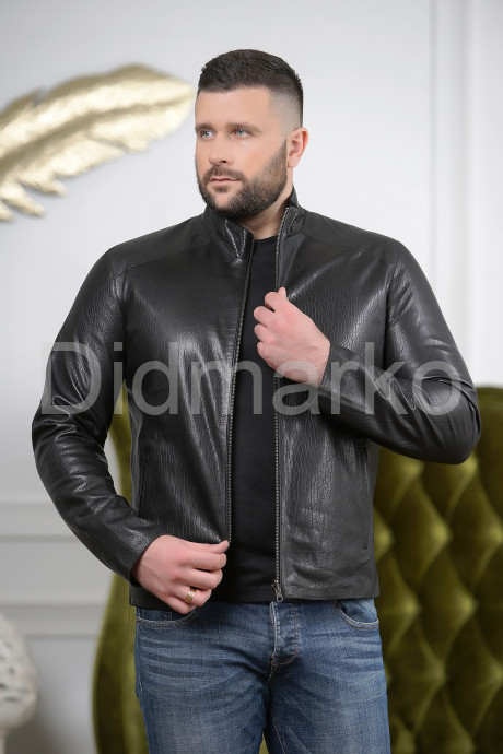 Купить Стильная мужская двусторонняя кожаная куртка черного цвета в Москве и Санкт-Петербурге